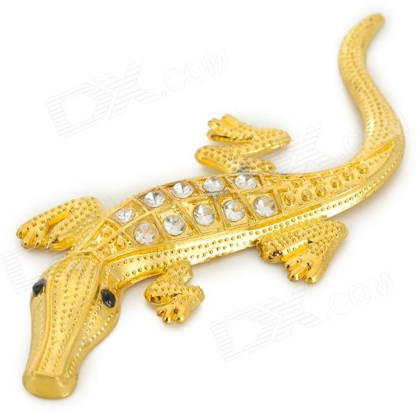 Crocodile Shaped Steel Rhinestone Car Decoration Sticker - Golden