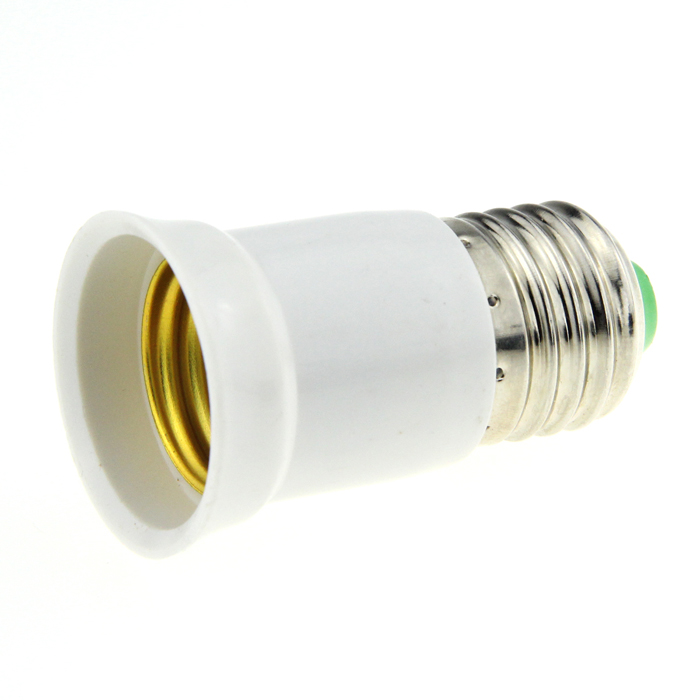 Lengthening E27 Male to E27 Female Light Bulb Plug Converter - White + Silver (85~260V)