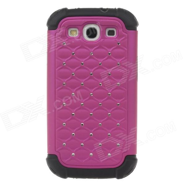 Stylish Protective Plastic + Silicone Case w/ Rhinestone for Samsung Galaxy S3 - Black + Deep Pink protective plastic case w display window for iphone 5c deep pink