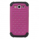 Stylish Protective Plastic + Silicone Case w/ Rhinestone for Samsung Galaxy S3 - Black + Deep Pink