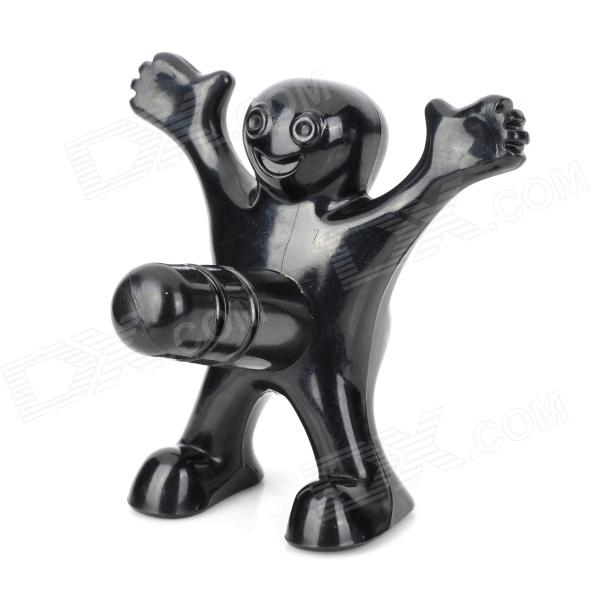 Novel Funny Little Man Style Beer Bottle Stopper - Black apes love gadgets slm 2 antique key style beer bottle opener black dark grey