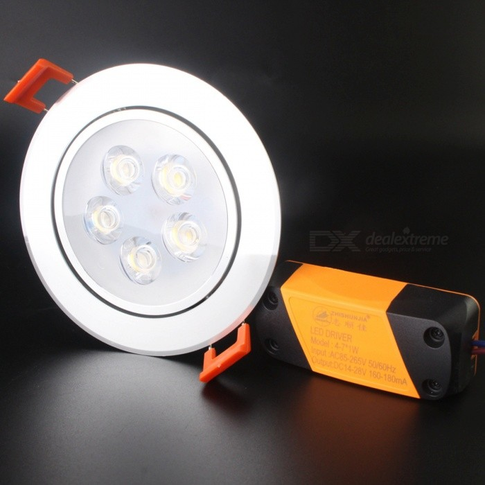 ZHISHUNJIA 5W 350LM 3500K Warm White 6063 LED Ceiling Lamp - Silver + White (85~265V)