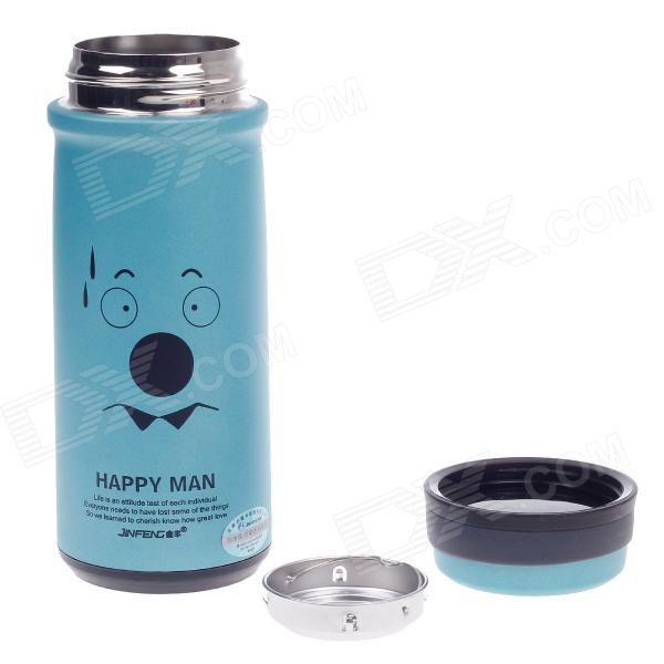 JINFENG Drops Of Sweat Expression Stainless Steel Thermos Cup w/ Filter - Blue + Black (320mL) sony hdr as50b