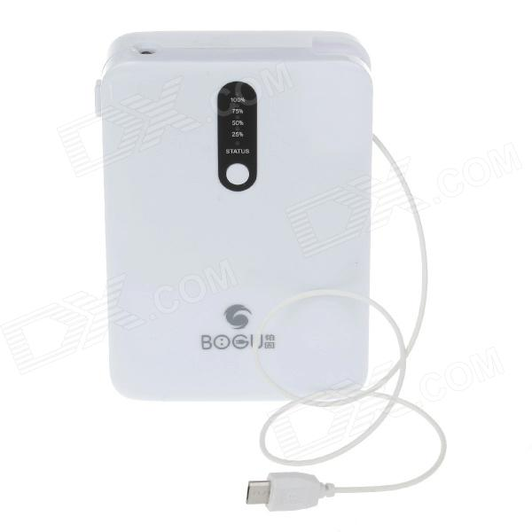 BOGU 7800mAh Dual USB Multifunction Rechargeable Mobile Power Lithium Battery Charger - White 3 7v lithium battery core polymer 8873130 mobile power charging treasure built in super large capacity 10000mah rechargeable li