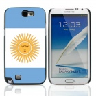 2014 World Cup Argentinian Flag Pattern Aluminum Alloy Case w/ Card Slot for Samsung Galaxy Note 2