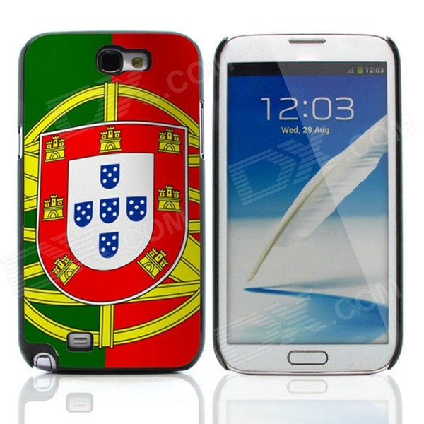 2014 World Cup Portuguese Flag Pattern Aluminum Alloy Case w/ Card Slot for Samsung Galaxy Note 2