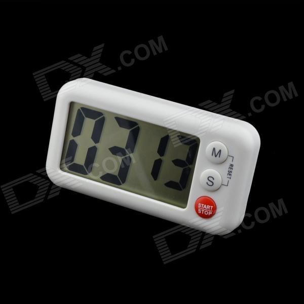 6.2 x 3.2cm LCD Digital Timer - White (1 x AAA) novelty run around wake up n catch me digital alarm clock on wheels white 4 aaa