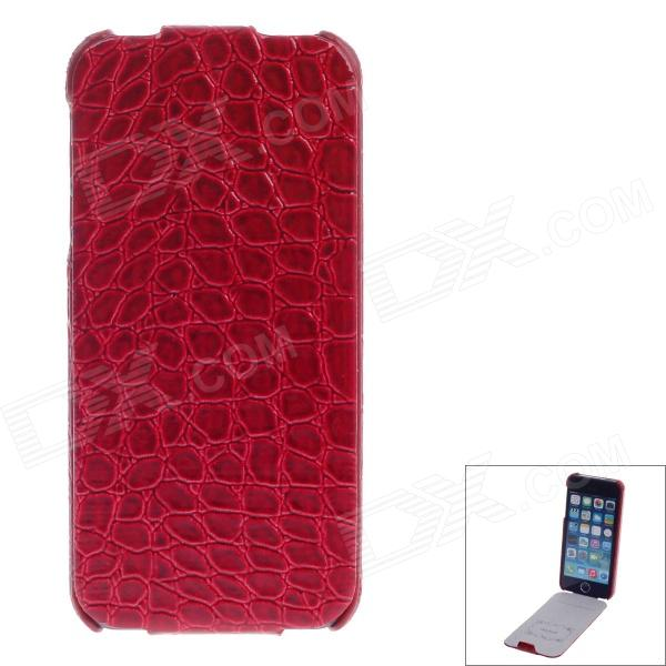 SAYOO Crocodile Striation Vertical Open Protective PU Leather Case Cover for IPHONE 5 / 5S - Red crocodile print style cover case for iphone 6s