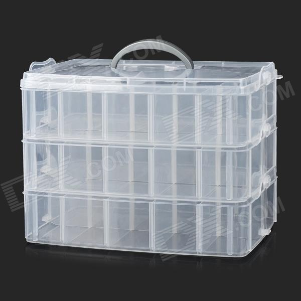 Convenient 3-deck 30-cubicle PP Storage Organizer Case Box w/ Handle - Transparent Pueblo Покупка б у
