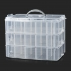 Convenient 3-deck 30-cubicle PP Storage Organizer Case Box w/ Handle - Transparent