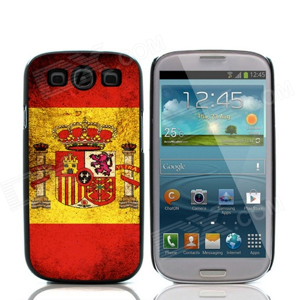 2014 World Cup Spanish Flag Pattern Aluminum Alloy Case w/ Card Slot for Samsung Galaxy S3 i9300