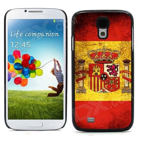 Unique Spanish Flag Pattern Aluminum Alloy Case w/ Card Slot for Samsung Galaxy S4 - Red + Yellow
