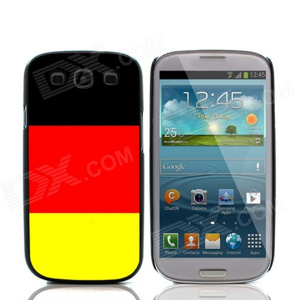 2014 World Cup German Flag Pattern Aluminum Alloy Case w/ Card Slot for Samsung Galaxy i9300
