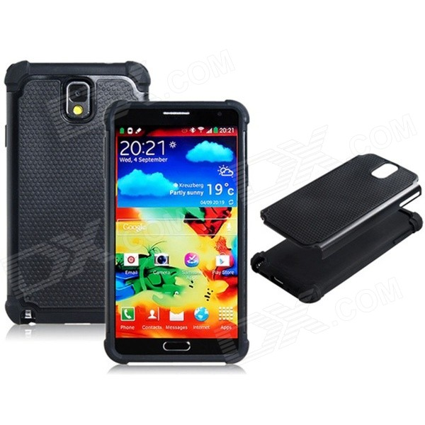 2-in-1 Protective Plastic + TPU Back Case for Samsung Galaxy Note 3 N9000 - Black 2 in 1 detachable protective tpu pc back case cover for samsung galaxy note 4 black
