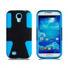 Mesh Style Protective Plastic + Silicone Back Case for Samsung Galaxy S4 i9500 - Blue + Black