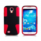 Mesh Style Protective Plastic + Silicone Back Case for Samsung Galaxy S4 i9500 - Red + Black