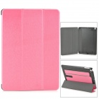 Protective PU Leather + PC Case w/ Hand Strap Holder for IPAD AIR - Deep Pink + Black