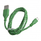 Nylon Woven USB 2.0 Male to Micro USB Male Data / Charging Cable for Samsung + More - Green (100cm)