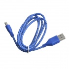 Nylon Woven USB 2.0 Male to Micro USB Male Data / Charging Cable for Samsung + More - Blue (100cm)