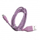 Nylon Woven USB 2.0 Male to Micro USB Male Data / Charging Cable for Samsung + More - Pink (100cm)