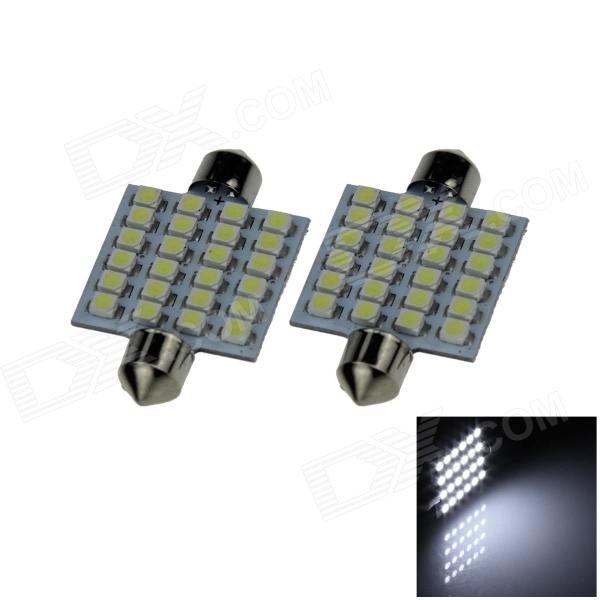 Festoon 41mm 2.4W 200lm 12 x SMD 1210 LED White Light Car Reading / Roof / Dome Lamp - (12V / 2 PCS)