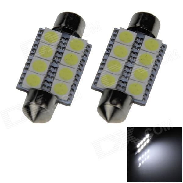 Festoon 39mm 1.6W 145lm 8 x SMD 5050 LED White Light Car Reading / Roof / Dome Lamp - (12V / 2 PCS) lx 3w 250lm 6500k white light 5050 smd led car reading lamp w lens electrodeless input 12 13 6v