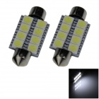 Festoon 39mm 1.6W 145lm 8 x SMD 5050 LED White Light Car Reading / Roof / Dome Lamp - (12V / 2 PCS)