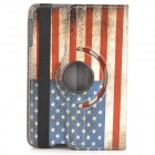 US National Flag Style 360 Degree Rotation PU Leather Case for Retina IPAD MINI - Red + Blue