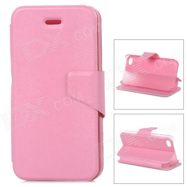 Mouse Grain Style Protective PU Leather + ABS Case for IPHONE 4 / 4S - Pink silk style protective pu leather plastic case for iphone 4 4s deep pink