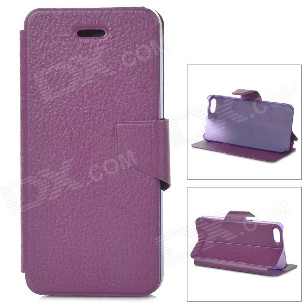 Lychee Grain Style Protective PU Leather + Plastic Case for IPHONE 5 / 5S - Dark Purple lychee pattern protective pu case for iphone 5 5s 5c white