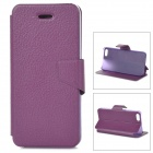 Lychee Grain Style Protective PU Leather + Plastic Case for IPHONE 5 / 5S - Dark Purple