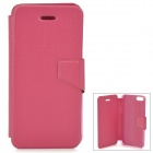 Lychee Grain Style Protective PU Leather + Plastic Case for IPHONE 5 / 5S - Deep Pink