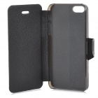 Lychee Grain Style Protective PU Leather + Plastic Case for IPHONE 5 / 5S - Black