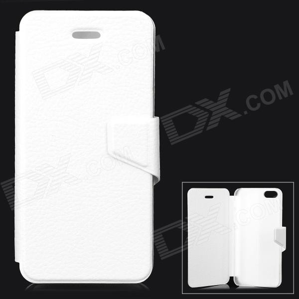 Lychee Grain Style Protective PU Leather + Plastic Case for IPHONE 5 / 5S - White lychee grain style protective pu leather case w card holder slots for google nexus 5 white