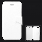 Lychee Grain Style Protective PU Leather + Plastic Case for IPHONE 5 / 5S - White