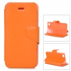 Mouse Grain Style Protective PU Leather + ABS Case for IPHONE 4 / 4S - Orange