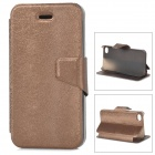 Mouse Grain Style Protective PU Leather + ABS Case for IPHONE 4 / 4S - Brown
