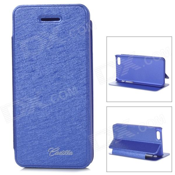 Silk Style Protective PU Leather + Plastic Case for IPHONE 5 / 5S - Blue silk style protective pu leather plastic case for iphone 4 4s deep pink