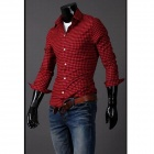 Popular Classic Grid Cotton Casual Men's Slim Fit Long-sleeve Shirt - Red + Black (Size-XXL)