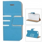 Protective PU Leather + Plastic Case for IPHONE 5 / 5S - Blue + White