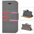 Protective PU Leather + Plastic Case for IPHONE 5 / 5S - Dark Grey + Red + Pink