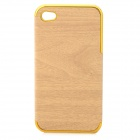 Wood-260 Wood Grain Style Protective PU Leather + PC Case for IPHONE 4 / 4S - Wood Color + Golden