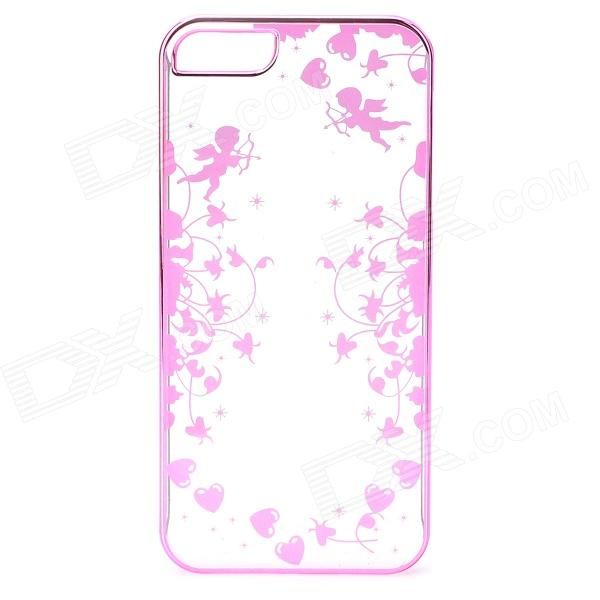 Laser Cupid Pattern Protective ABS Back Case for IPHONE 5 / 5S - Deep Pink + Transparent virgo pattern protective abs pc hard back case w rhinestone for iphone 5 deep pink white