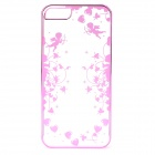 Laser Cupid Pattern Protective ABS Back Case for IPHONE 5 / 5S - Deep Pink + Transparent