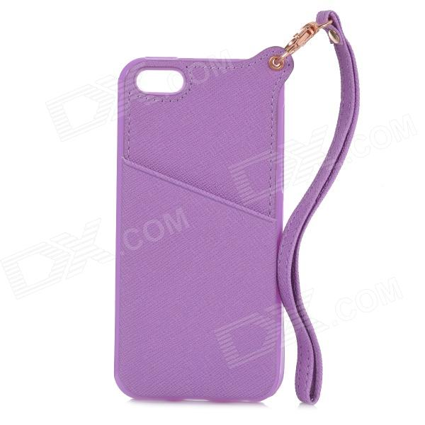 Protective TPU + PU Leather Back Case w/ Card Holder Slot / Hand Strap for IPHONE 5 / 5S - Purple s what protective tpu back case w anti dust plug for iphone 5 5s transparent purple