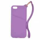 Protective TPU + PU Leather Back Case w/ Card Holder Slot / Hand Strap for IPHONE 5 / 5S - Purple
