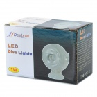 JB-001 1W Aquarium Fish Tank 1-LED White Light Diving Light Lamp - Translucent White (AC 100~240V)