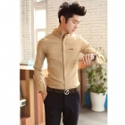Version Of Spring and Zhongshan Collar Fashionable Long-sleeved Shirt - Khaki (Size-XL)