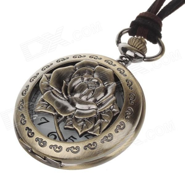 Rose Style Fashionable Classical Women's Quartz Pocket Watch - Bronze + White (1 x LR626) old antique bronze doctor who theme quartz pendant pocket watch with chain necklace free shipping