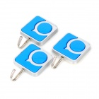 GG001 Cute Handy Self-adhesive Key / Towel / Cap Hook - Blue + Silver